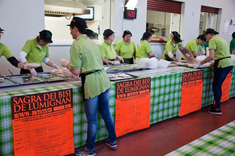 The serving station, Pea Festival, Sagra dei Bisi, Lumignano, Veneto, Italy - www.rossiwrites.com