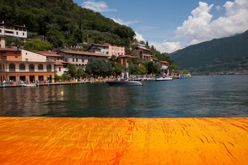 Christo's The Floating Piers, Approaching Monte Isola, Lake Iseo, Italy - www.rossiwrites.com