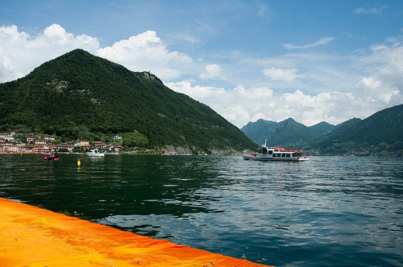 Christo's The Floating Piers, Lago Iseo seen from the orange walkway Italy - www.rossiwrites.com