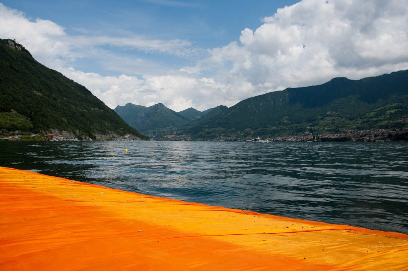 Christo's The Floating Piers, Lake Iseo seen from the orange walkway, Italy - www.rossiwrites.com