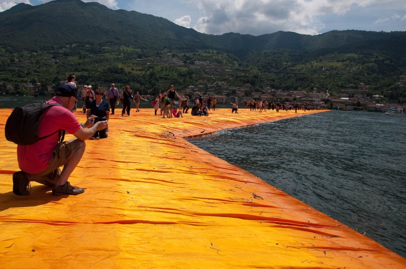 Christo's The Floating Piers, Taking pictures of the orange walkway, Monte Isola, Lake Iseo, Italy - www.rossiwrites.com