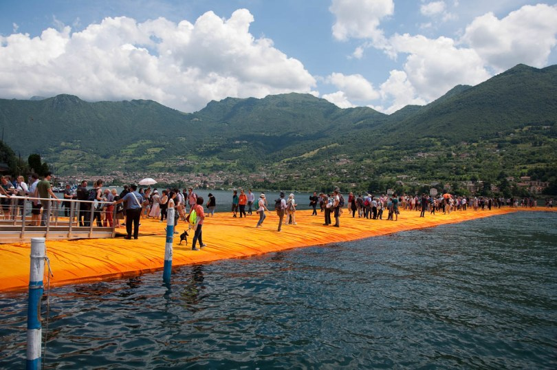 Christo's The Floating Piers, The orange walkway connecting Sulzano and Monte Isola, Monte Isola, Lake Iseo, Italy - www.rossiwrites.com