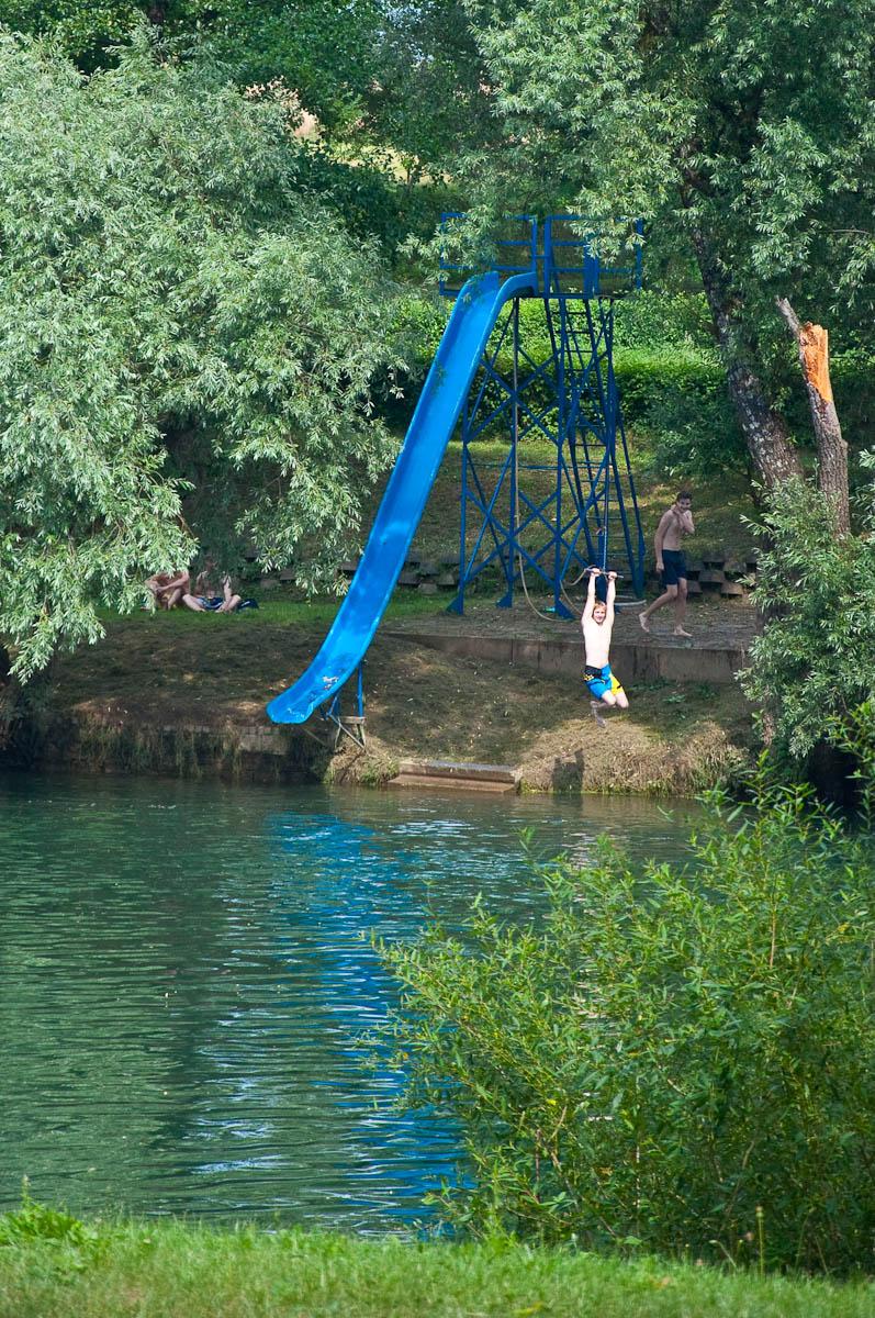 The blue slide on the Croatian shore, Big Berry glampsite, Bela Krajina, Slovenia - www.rossiwrites.com