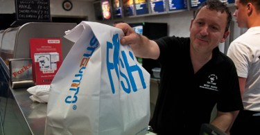 A big bag of fish and chips, St. Albans, UK - www.rossiwrites.com