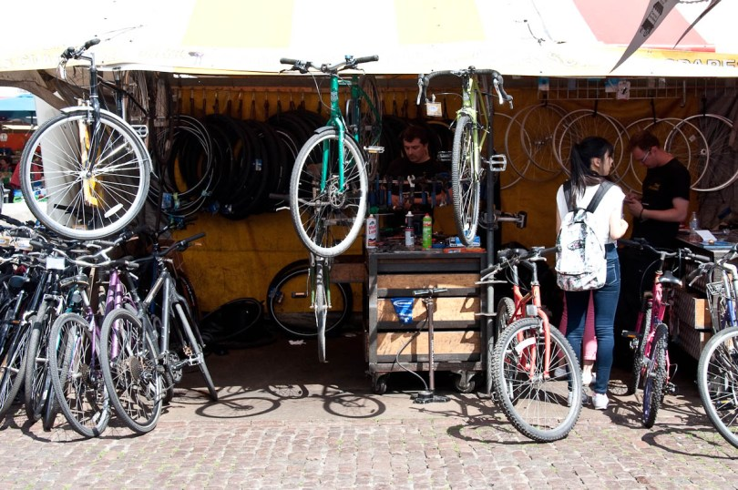 A bike stall at the market, Cambridge, England - www.rossiwrites.com