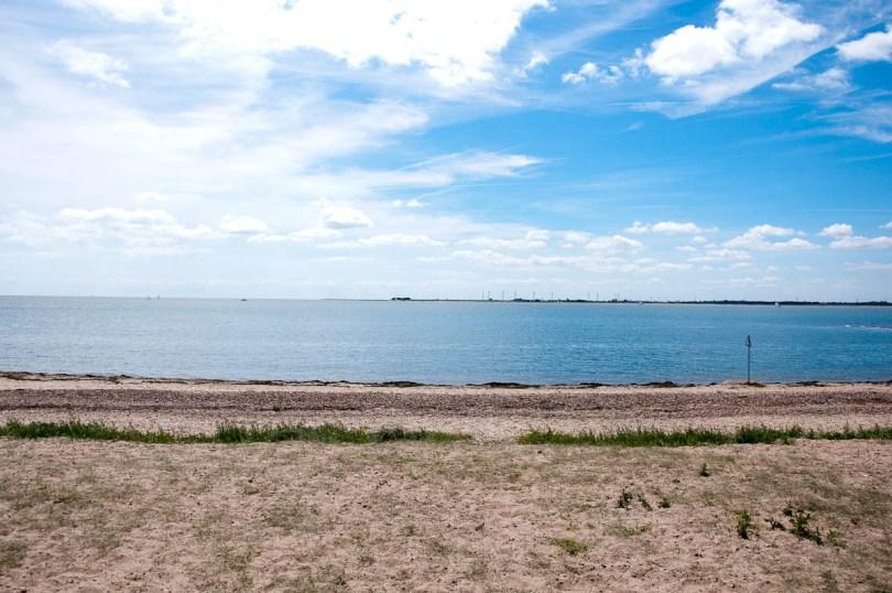 A grassy beach, Mersea Island, Essex, England - www.rossiwrites.com