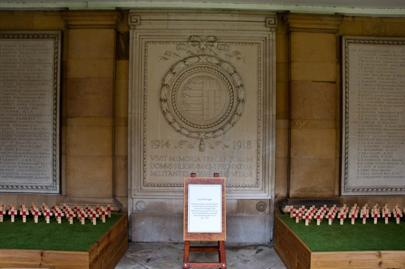 Commemorative crosses and monument, Pembroke College, Cambridge, England - www.rossiwrites.com