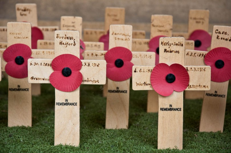 Commemorative crosses and poppies, Pembroke College, Cambridge, England - www.rossiwrites.com