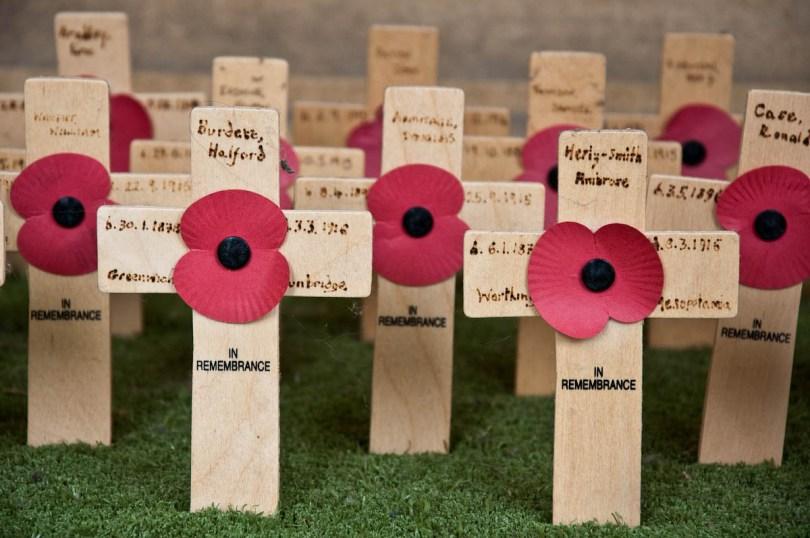 Commemorative crosses and poppies, Pembroke College, Cambridge, England - www.rossiwrites.com