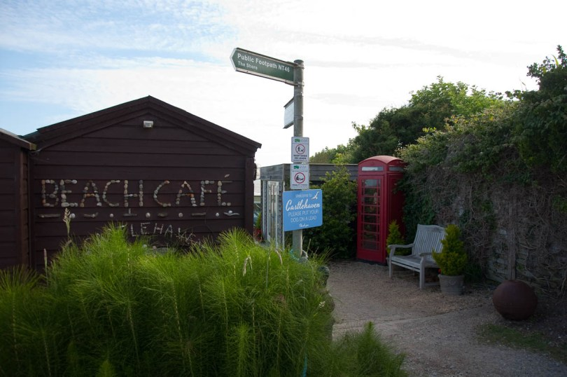 The beach cafe with a red phone booth, Castlehaven Caravan Park, Isle of Wight, UK - www.rossiwrites.com