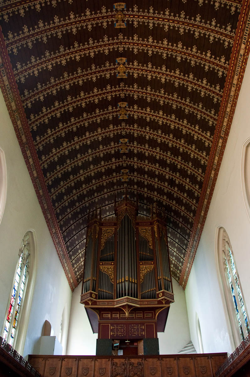 The ceiling, The Chapel. Queen's College, Cambridge, England - www.rossiwrites.com