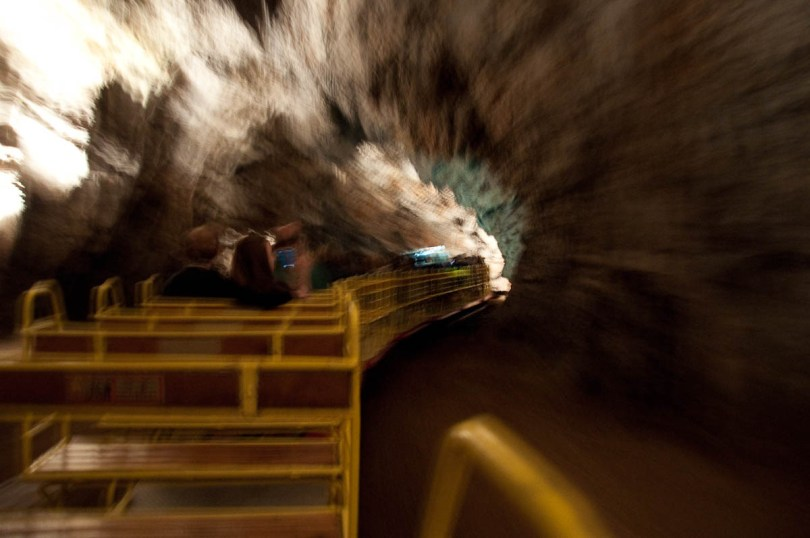 The fast moving cave train, Postojna Caves, Slovenia - www.rossiwrites.com