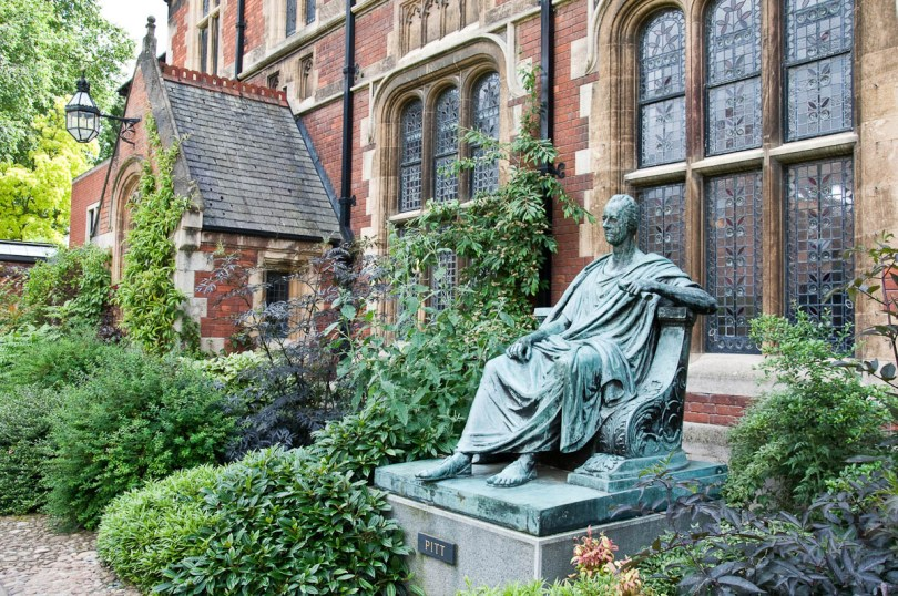 The statue of William Pitt the Younger, Pembroke College, Cambridge, England - www.rossiwrites.com
