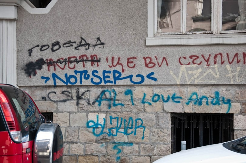 Meaningless graffiti in the centre of the capital, Sofia, Bulgaria - www.rossiwrites.com