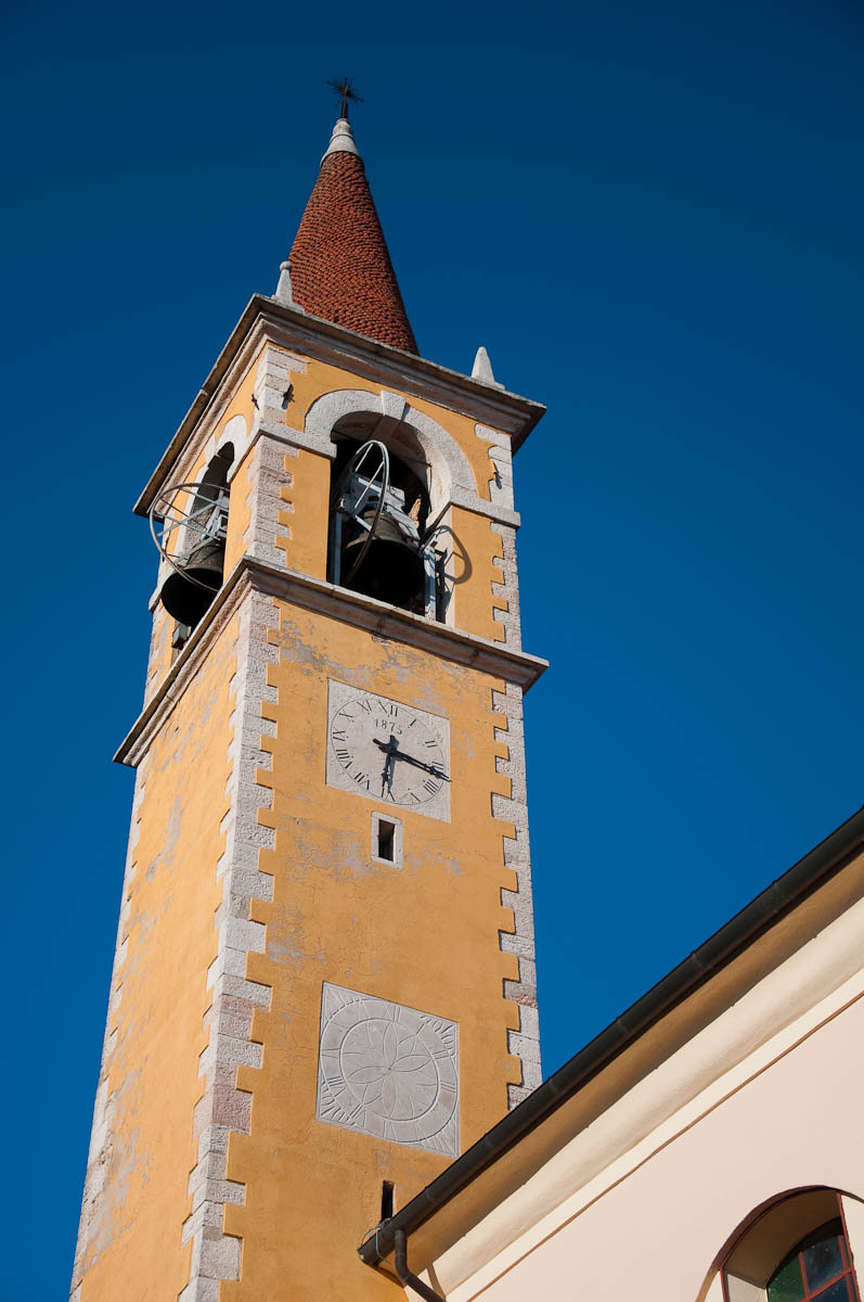 The bell tower of St Giovanni Batista Church, Bolca, Province of Verona, Italy - www.rossiwrites.com