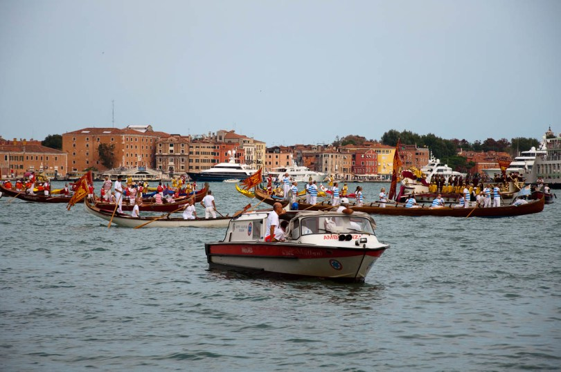 A water ambulance passing by before the start of the parade, Historical Regatta, Venice, Italy - www.rossiwrites.com