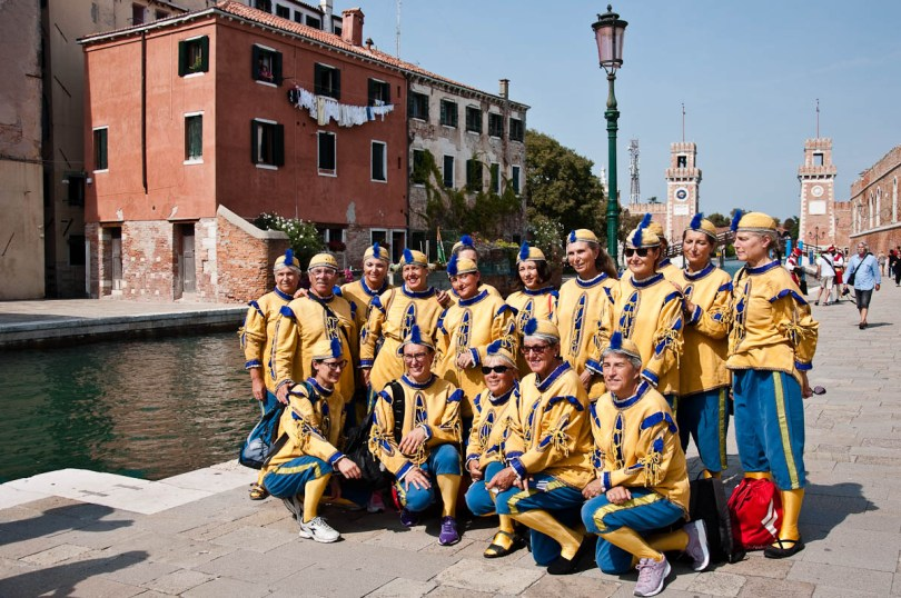 Participants in the regatta having their photo taken, Arsenale, Historical Regatta, Venice, Italy - www.rossiwrites.com