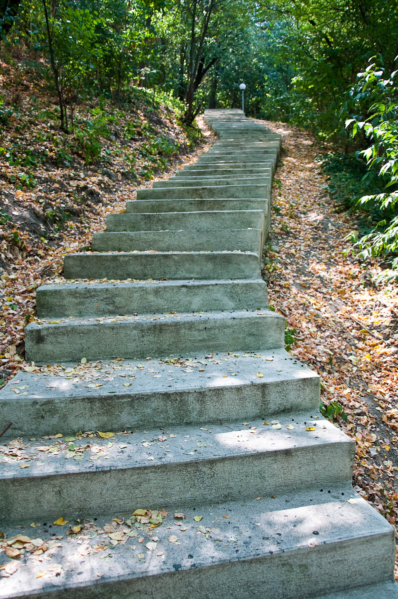 The concrete steps of the Ovech Ecopath, Ovech Fortress, Provadia, Bulgaria - www.rossiwrites.com