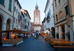 The main street with the Civic Tower and stalls, Mediaevil Fair, Castelfranco Veneto, Italy - www.rossiwrites.com