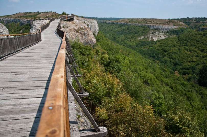 The wooden bridge with the cliffs, Ovech Fortress, Provadia, Bulgaria - www.rossiwrites.com