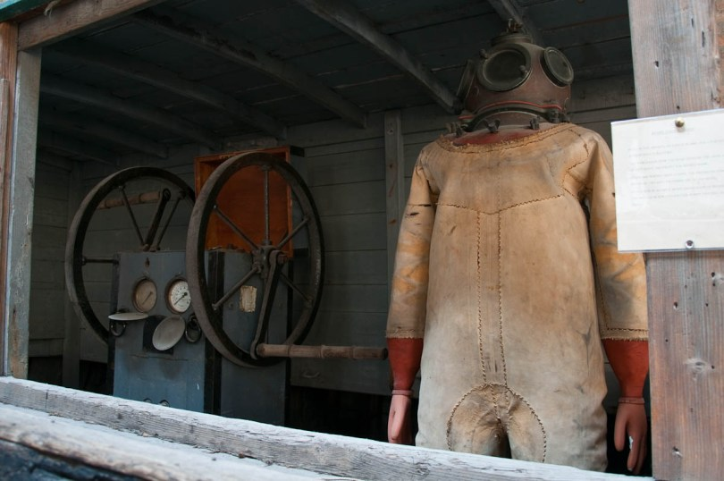 An early frogman suit - Ships Pavilion, Venice, Italy - www.rossiwrites.com