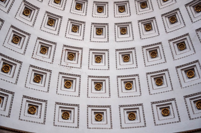 Close-up of the ceiling of the Tempio Canoviano or the Temple of Canova - Possagno, Treviso, Veneto, Italy - www.rossiwrites.com
