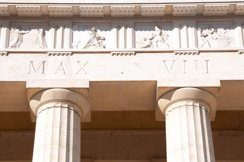 Close-up of the facade of the Tempio Canoviano or the Temple of Canova - Possagno, Treviso, Veneto, Italy - www.rossiwrites.com
