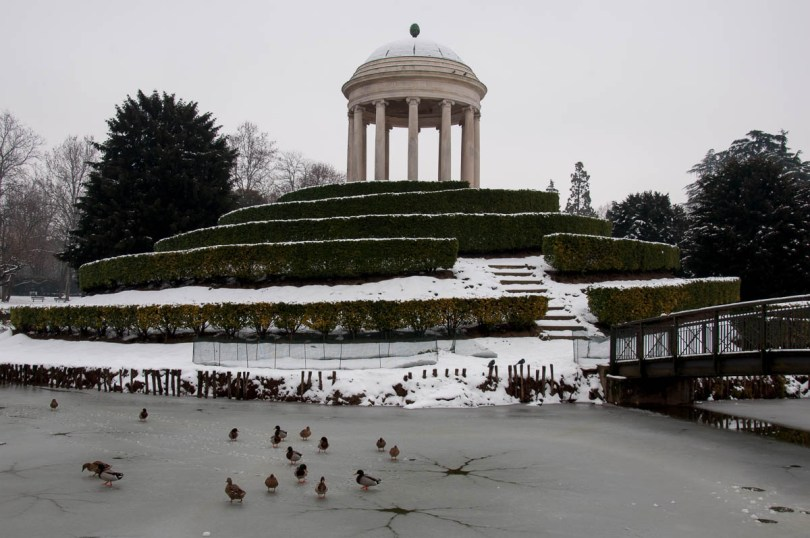 Ducks on the frozen pond in Parco Querini covered by snow - Vicenza, Veneto, Italy - www.rossiwrites.com