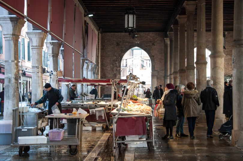Shopping inside the big market halls - Rialto Fish Market, Venice, Italy - www.rossiwrites.com
