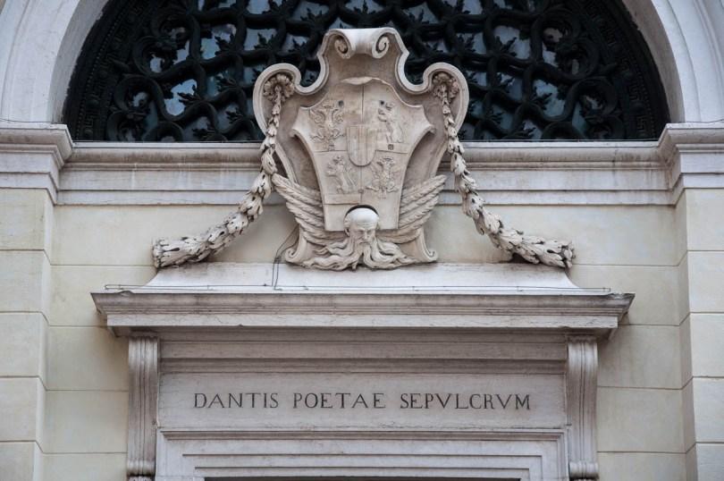 A close-up of Dante's Tomb - Quadrarco di Braccioforte - Ravenna, Emilia Romagna, Italy - www.rossiwrites.com