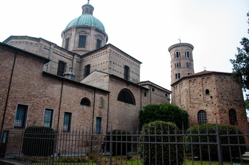The cathedral with its romanesque tower and the Batistery of Neon - Ravenna, Emilia Romagna, Italy - www.rossiwrites.com