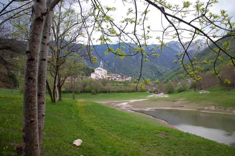 The village seen from the lake path - Laghi, Veneto, Italy - www.rossiwrites.com