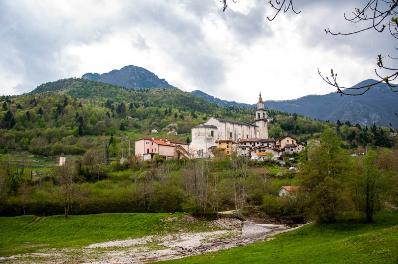The village seen from the stream - Laghi, Veneto, Italy - www.rossiwrites.com