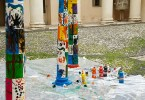 Colourful columns made during a kids' workshop - Palladio Museum, Vicenza, Veneto, Italy - www.rossiwrites.com
