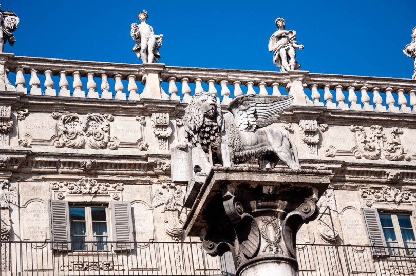 A close-up of the facade of Palazzo Maffei at Piazza delle Erbe - Verona, Italy - www.rossiwrites.com