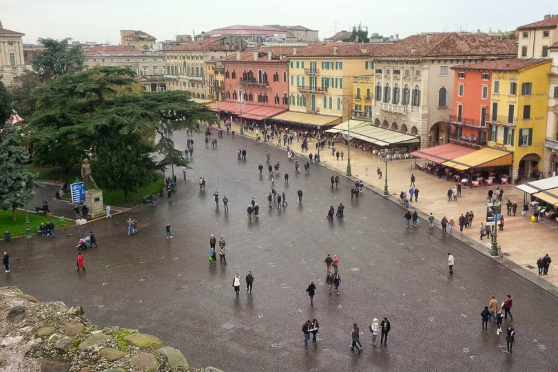 Piazza Bra in Verona seen from the top of Arena di Verona - Verona, Veneto, Italy - www.rossiwrites.com