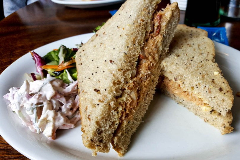 Crab sandwich served at the local pub - Holy Island of Lindisfarne, Northumberland, England - www.rossiwrites.com