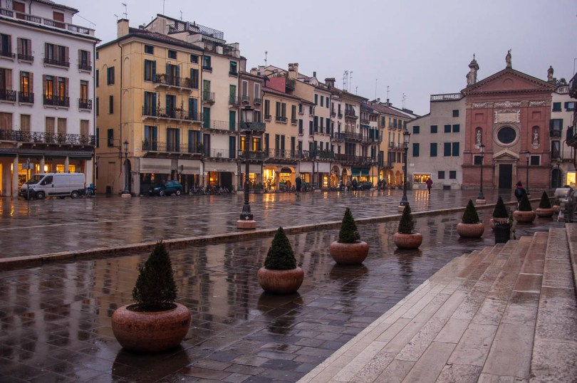 Piazza dei Signori in Padua on a rainy evening - Padua, Veneto, Italy - www.rossiwrites.com