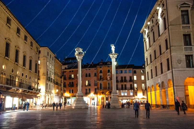 The pillars at Piazza dei Signori with Christmas lights - Christmas in Vicenza - Veneto, Italy - www.rossiwrites.com