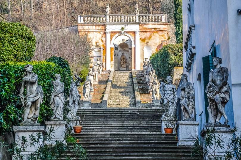 The stone staircase of Villa Nani Mocenigo - Monselice, Veneto, Italy - www.rossiwrites.com