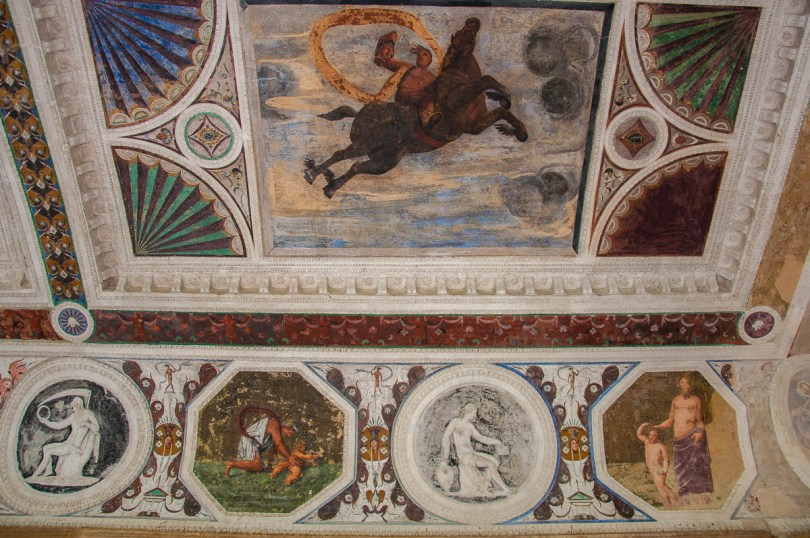 A close-up of the frescoed ceiling of the Cornaro Loggia - Padua, Veneto, Italy - www.rossiwrites.com