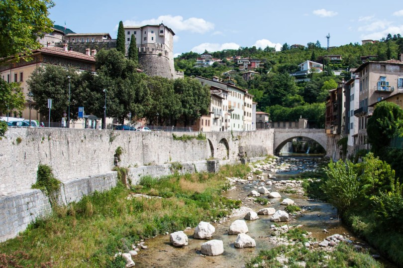 A view with the Ponte Forbato and the Castle - Rovereto, Trentino, Italy - www.rossiwrites.com