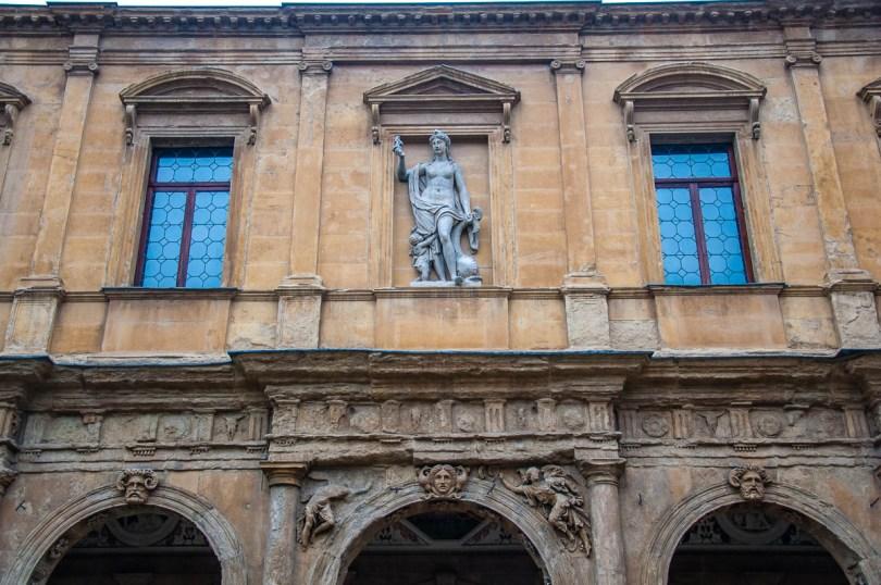 Close-up of the facade of the Cornaro Loggia - Padua, Veneto, Italy - www.rossiwrites.com