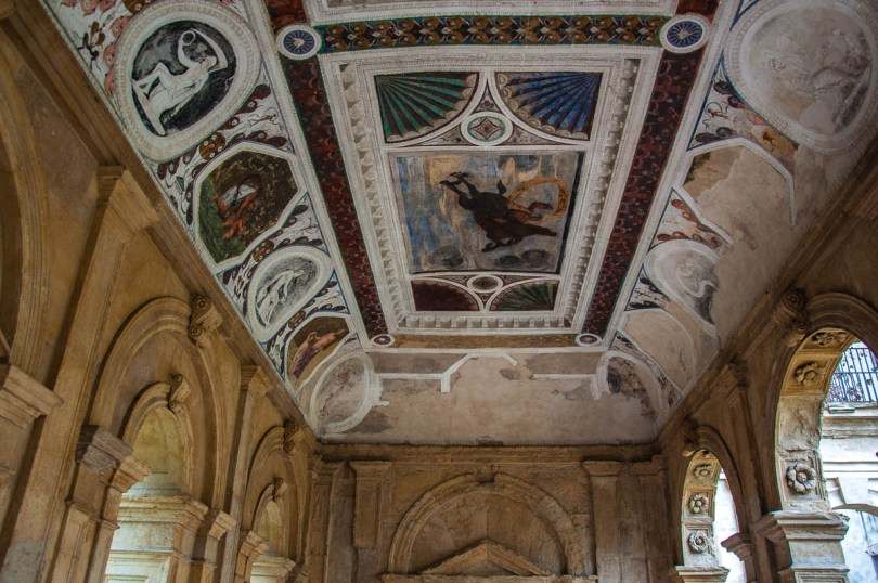 The frescoed ceiling of the Cornaro Loggia - Padua, Veneto, Italy - www.rossiwrites.com