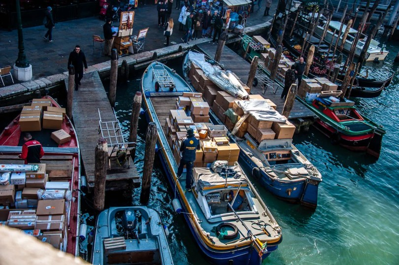 Delivery boats on the Grand Canal - Venice, Veneto, Italy - www.rossiwrites.com