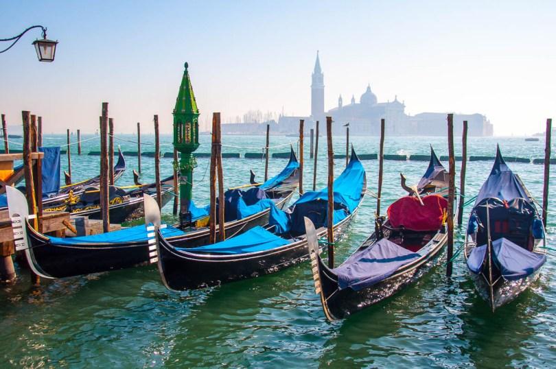 Gondolas and the island of San Giorgio Maggiore - Venice, Veneto, Italy - rossiwrites.com