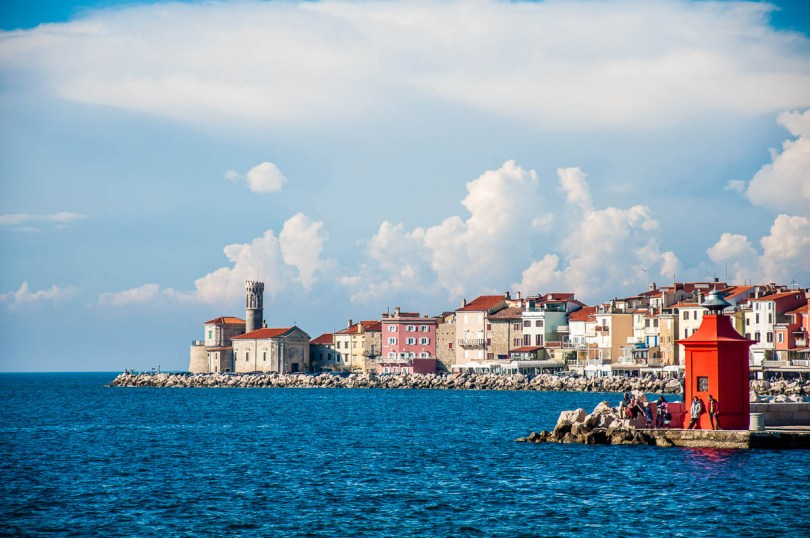 The red lighthouse of the marina - Piran, Slovenia - www.rossiwrites.com