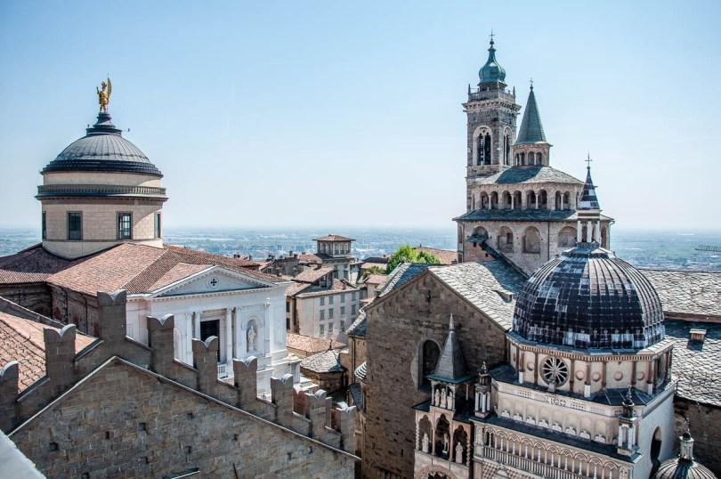 Duomo and the Basilica seen from the Civic Tower called Campanone, Bergamo, Italy - www.rossiwrites.com