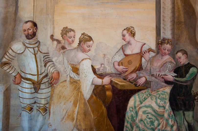 Fresco of a noblemen and ladies playing music - Palladian Villa Caldogno - Caldogno, Vicenza, Italy - www.rossiwrites.com
