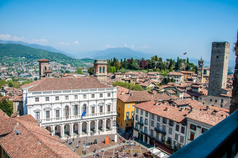Piazza Vecchia seen from the Civic Tower called Campanone, Bergamo, Italy - rossiwrites.com
